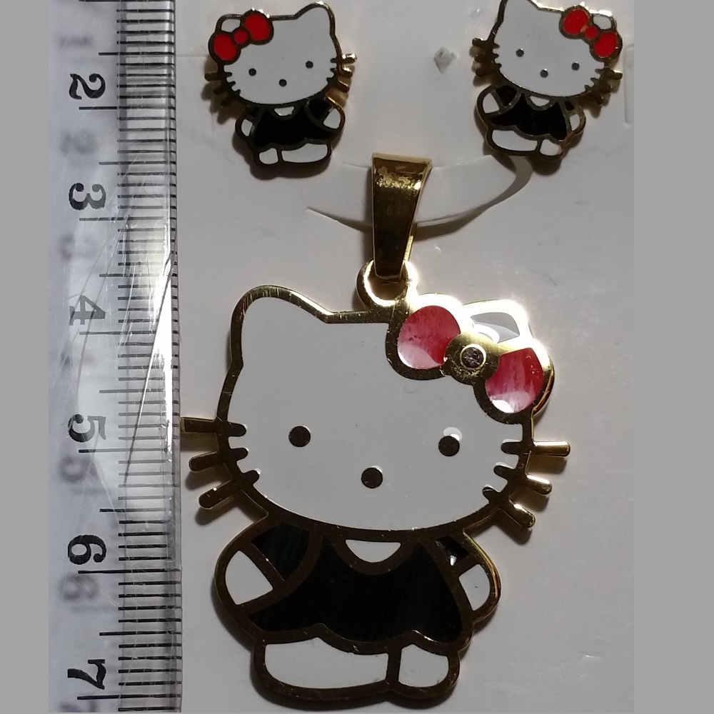 Stainless steel gold plated hello kitty pendant and earrings hello kitty pendant and earrings aloadofball Choice Image