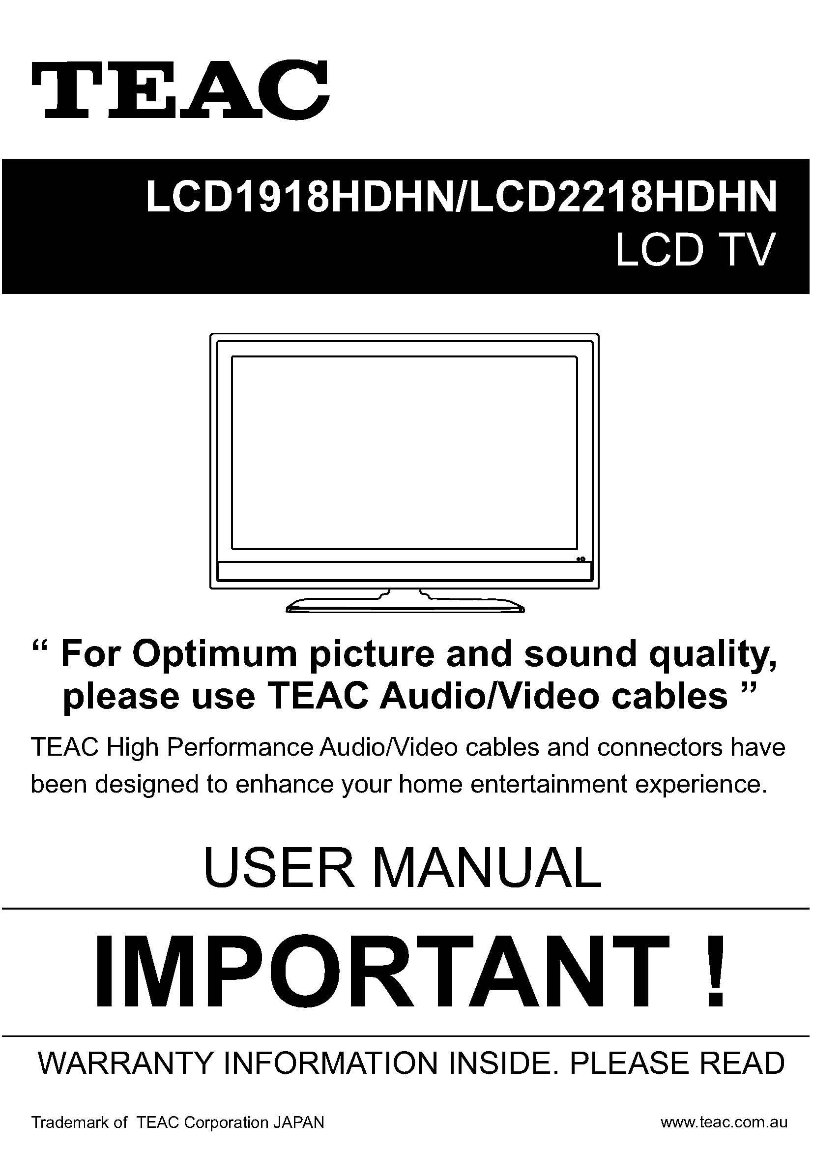 TEAC LCD19-2218HDHN User Manual