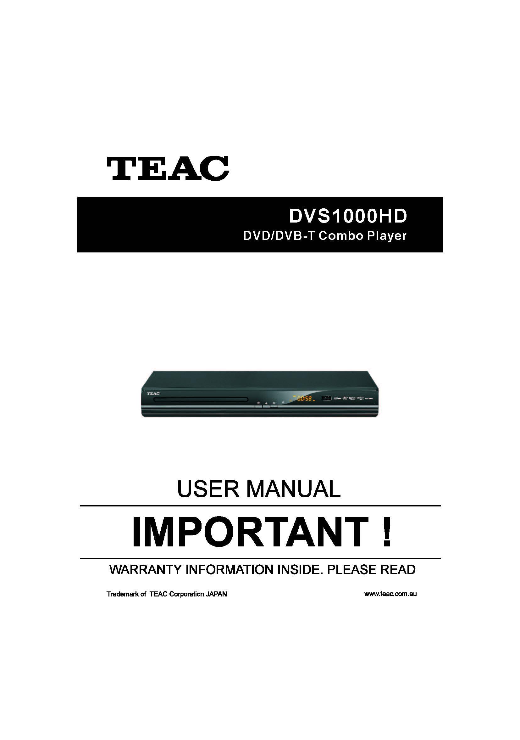 teac dvs1000hd user manual store809 rh store809 com TEAC an 80 User Manual TEAC Manual Operation
