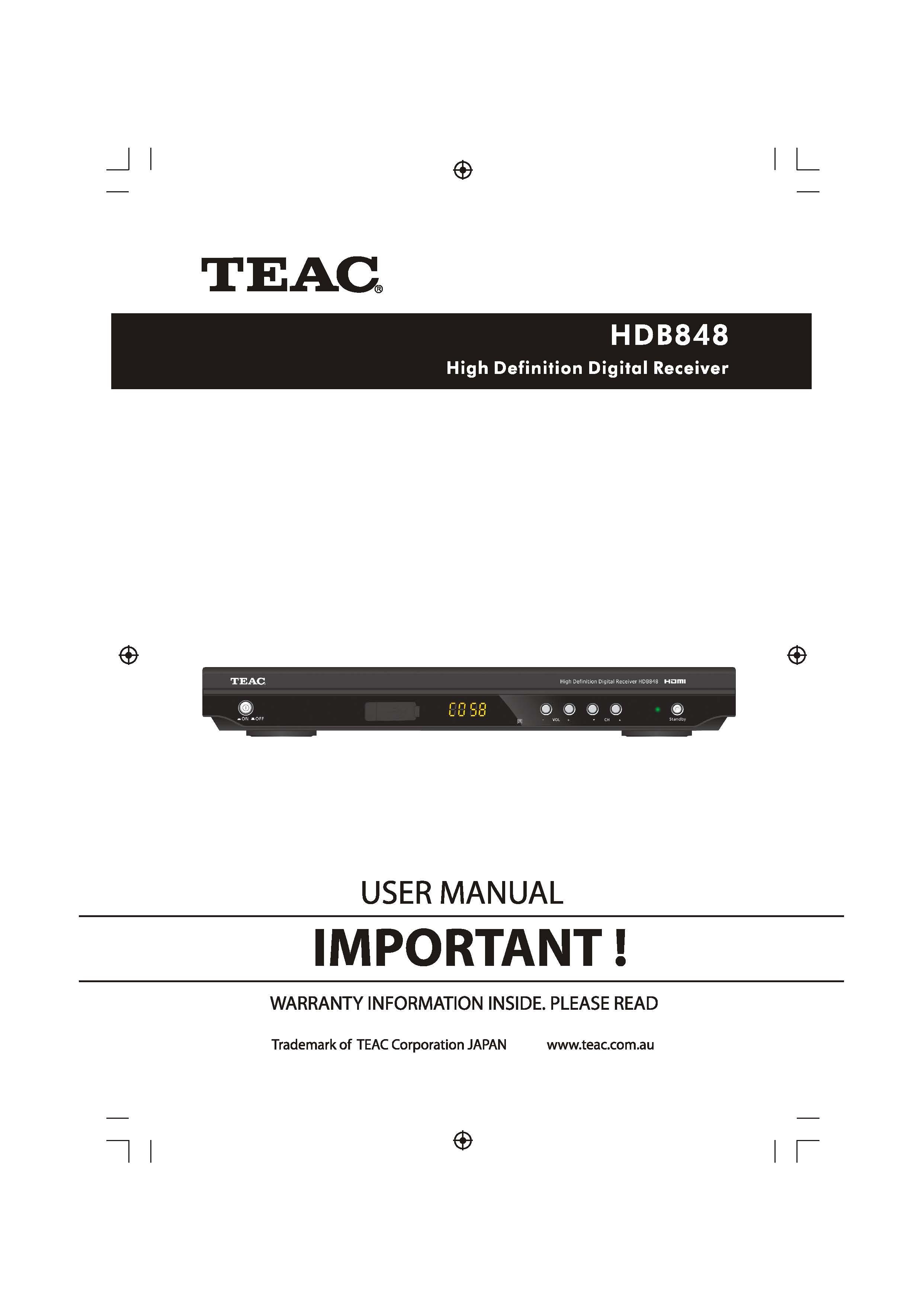 ... Array - teac hdb848 user manual u2014 store809 rh store809 com