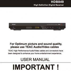 TEAC HDB849 User Manual