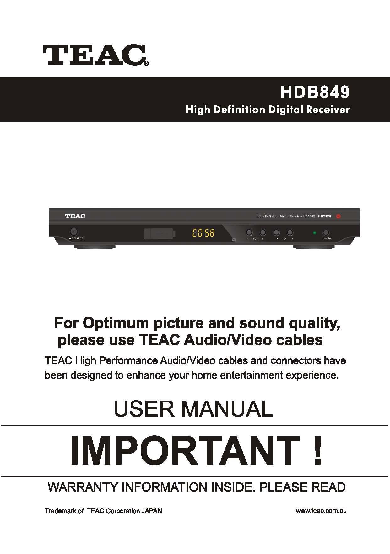 teac hdb849 user manual ...