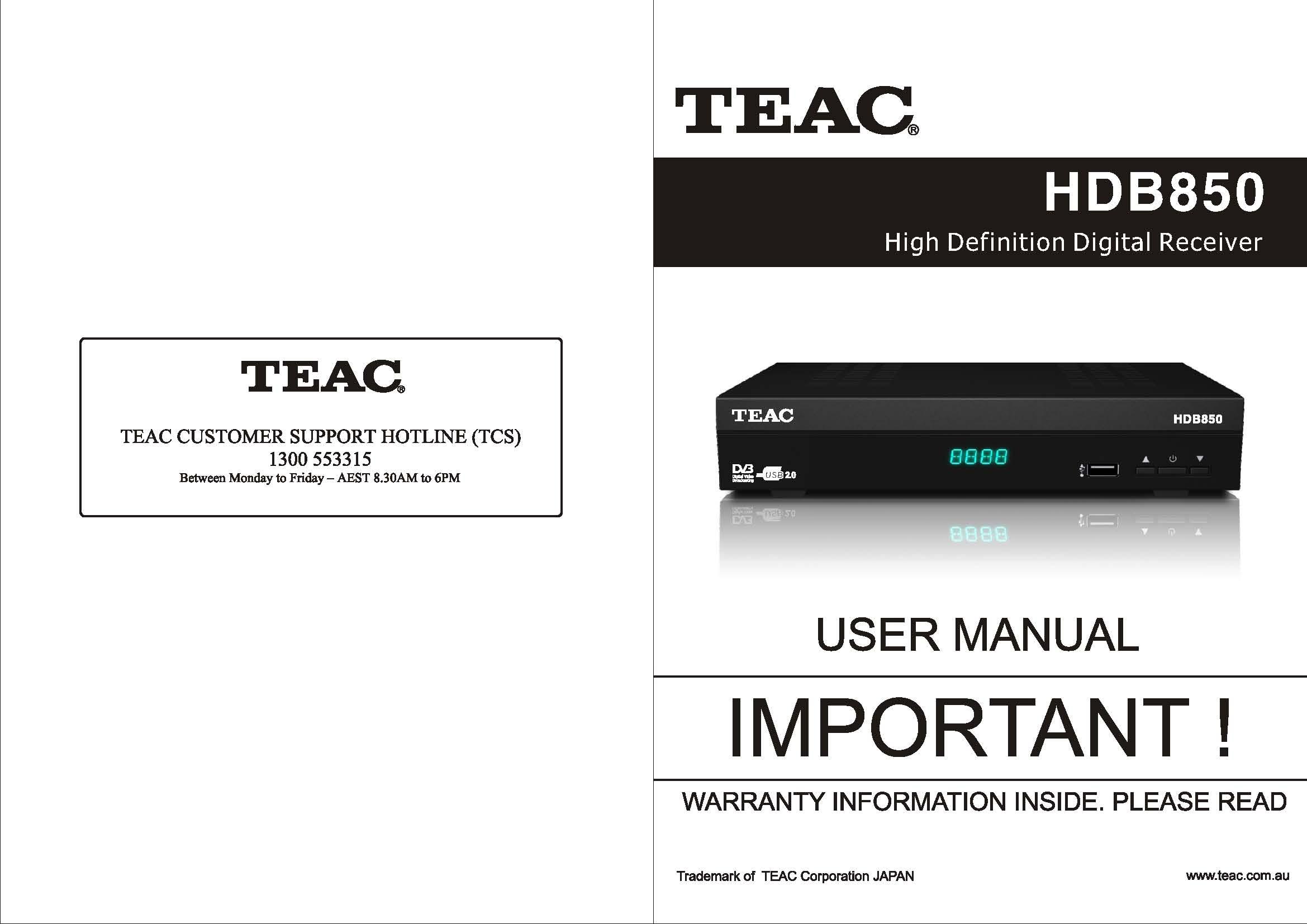teac hdb850 user manual store809 rh store809 com TEAC 3340 Service Manual teac television user manual