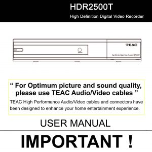 TEAC HDR2500T User Manual