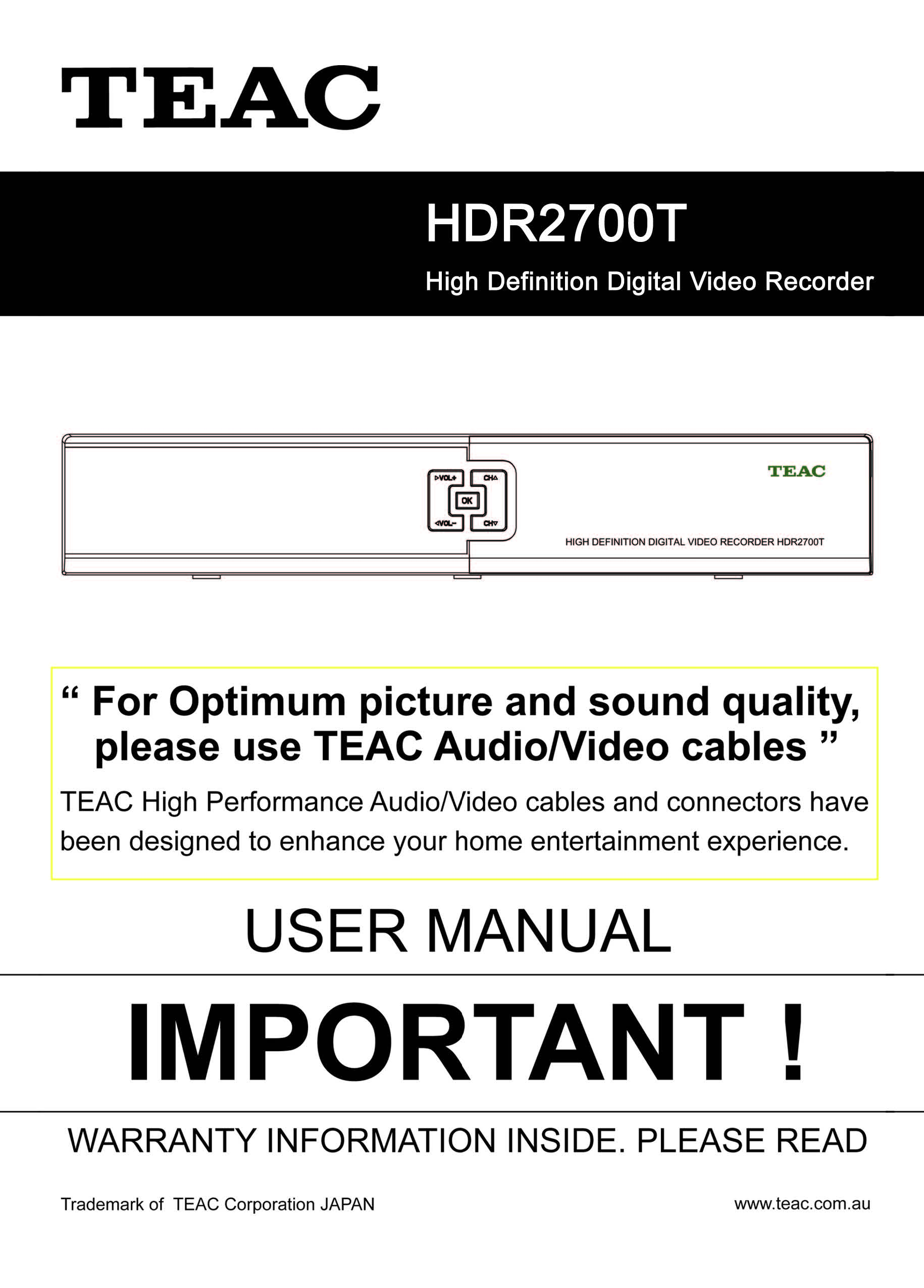 TEAC HDR2700T Instruction Manual