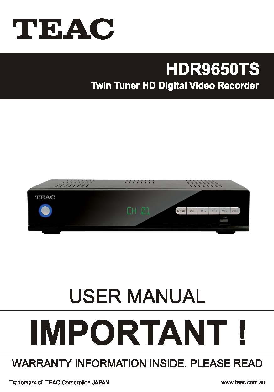 TEAC HDR9650TS User Manual
