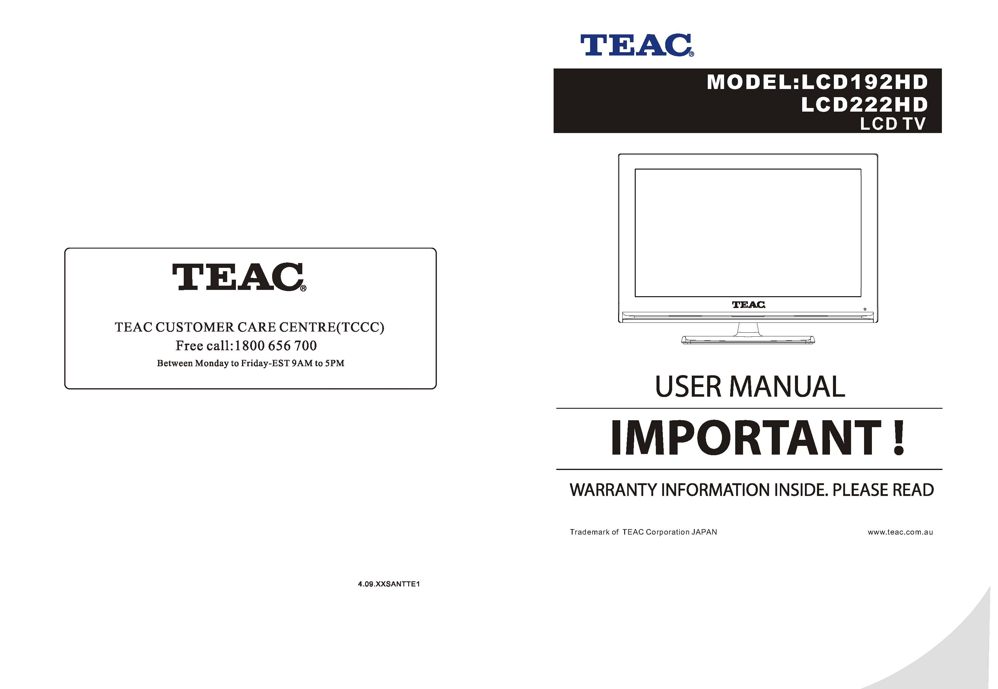 TEAC LCD192HD Instruction Manual