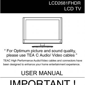 TEAC LCD2681FHDR User Manual