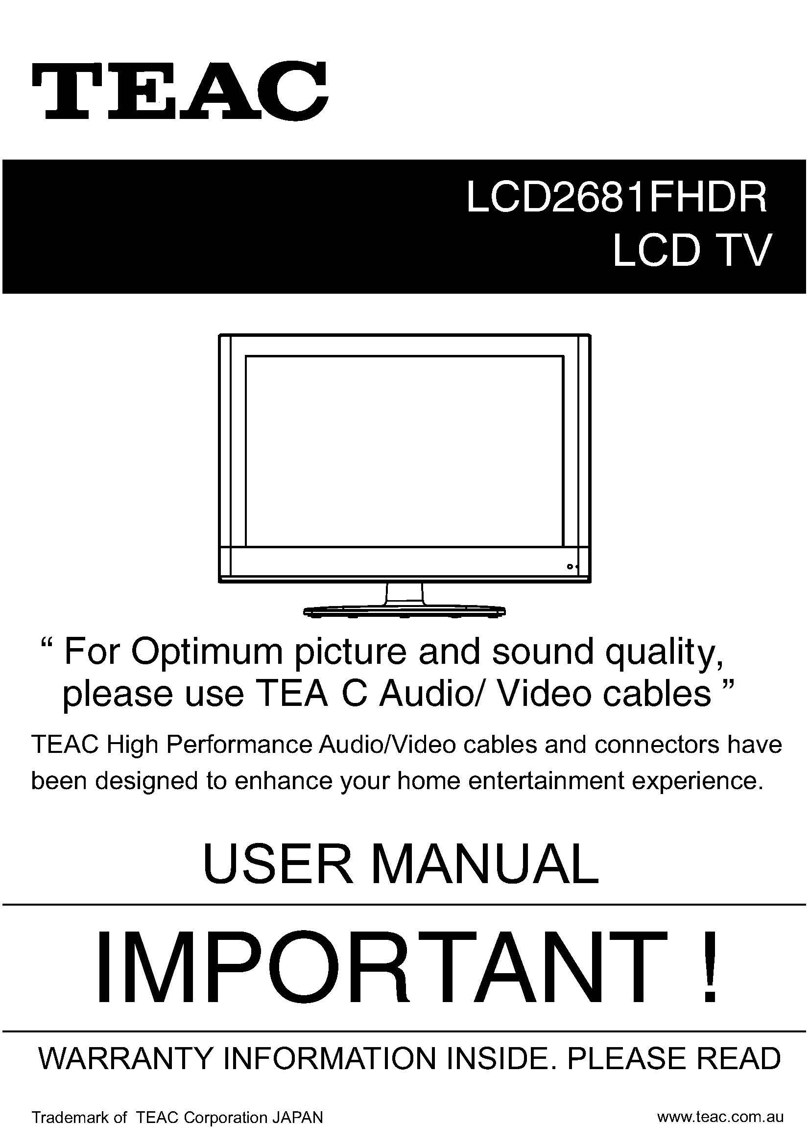 TEAC LCD2681FHDR User Manual