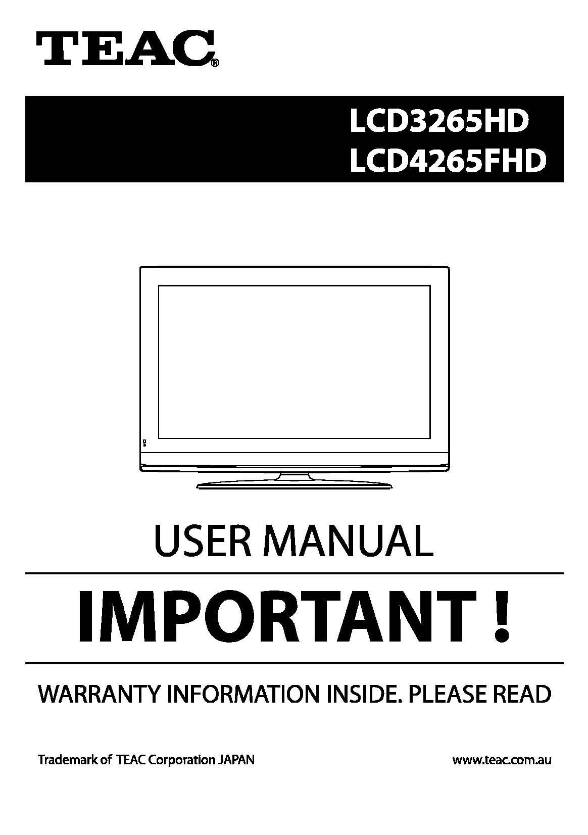 TEAC LCD3265HD LCD4265FHD User Manual