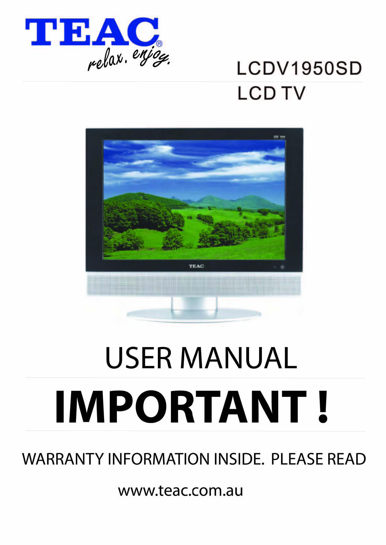 teac lcdv1950sd instruction manual store809 rh store809 com TEAC Receiver Manual TEAC CD Recorder Manual