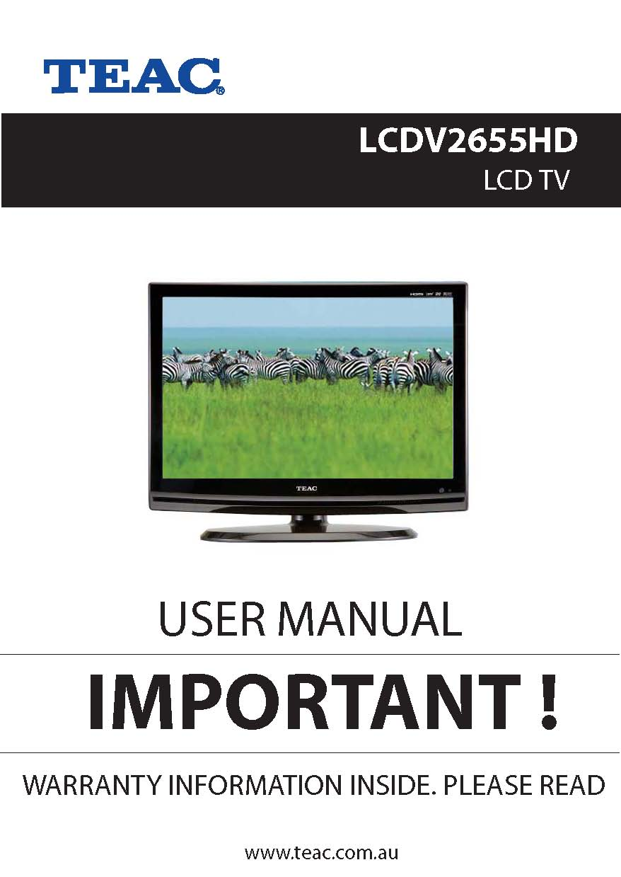 TEAC LCDV2655HD Instruction Manual