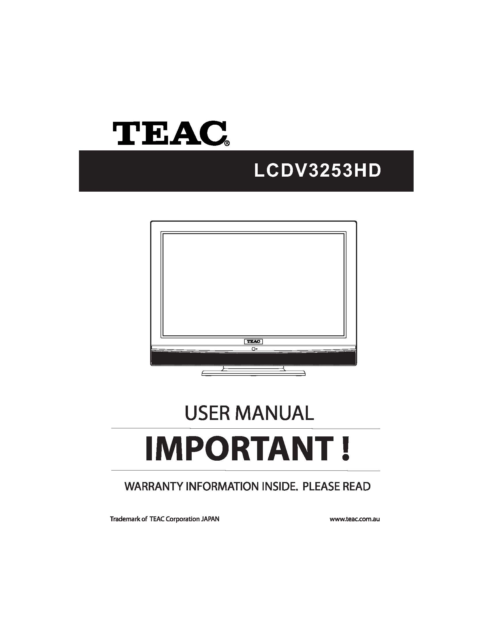 TEAC LCDV3253HD User Manual