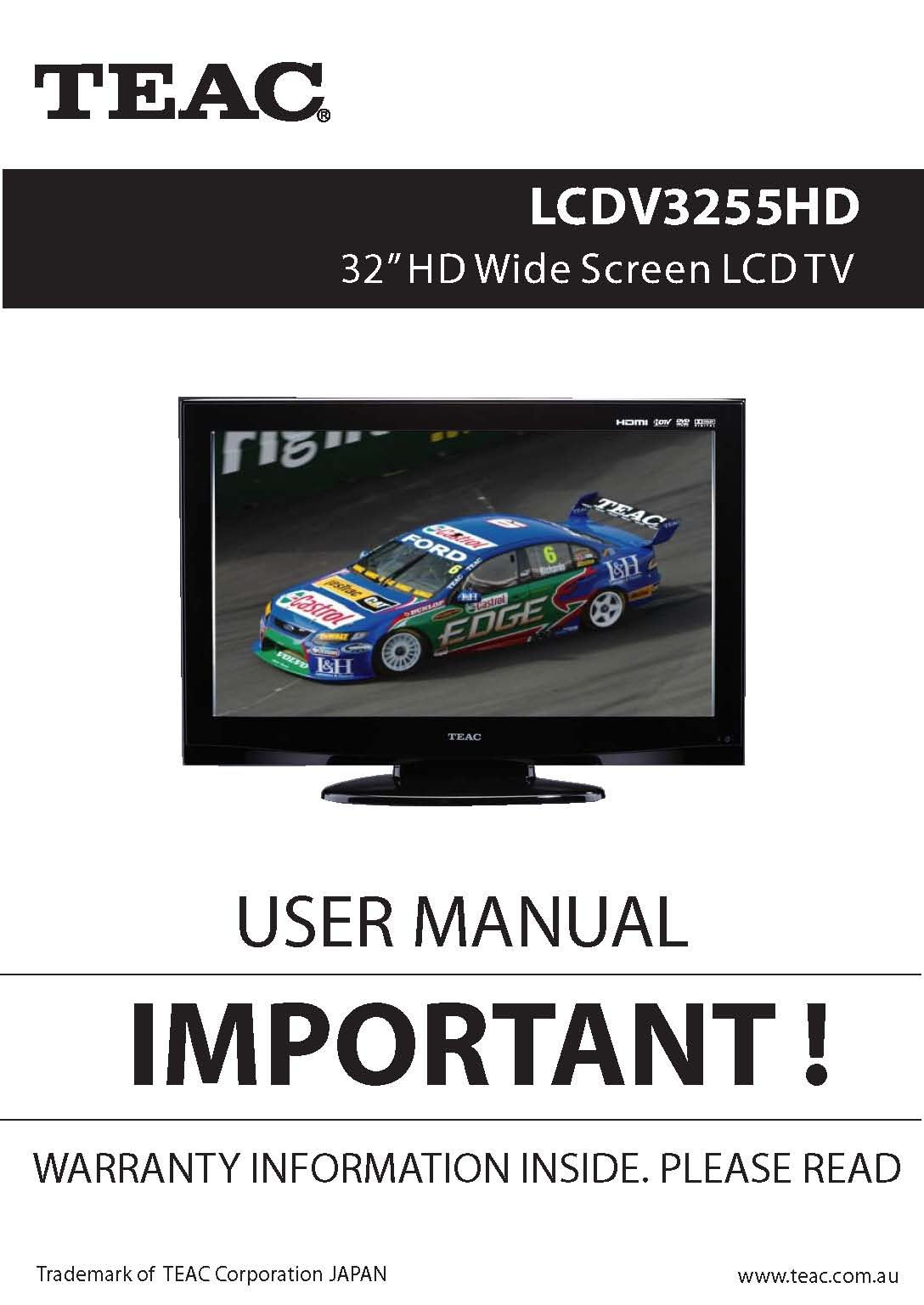 TEAC LCDV3255HD User Manual