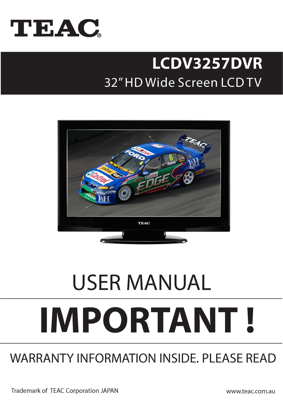 TEAC LCDV3257DVR user manual