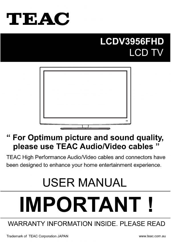 TEAC LCDV3956FHD User Manual