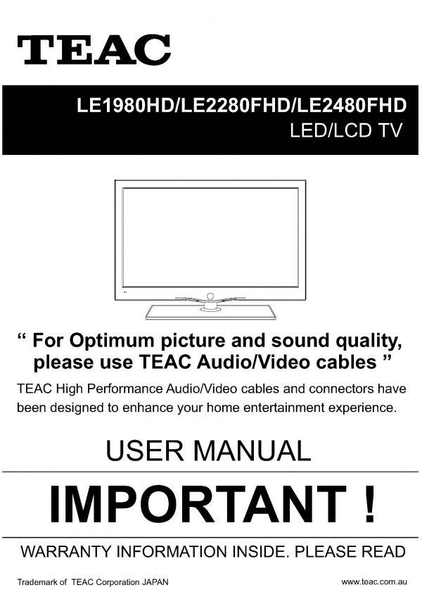 TEAC LE1980HD 2280FHD 2480FHD User Manual