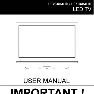 TEAC LE23A84HD LE19A84HD UserManual