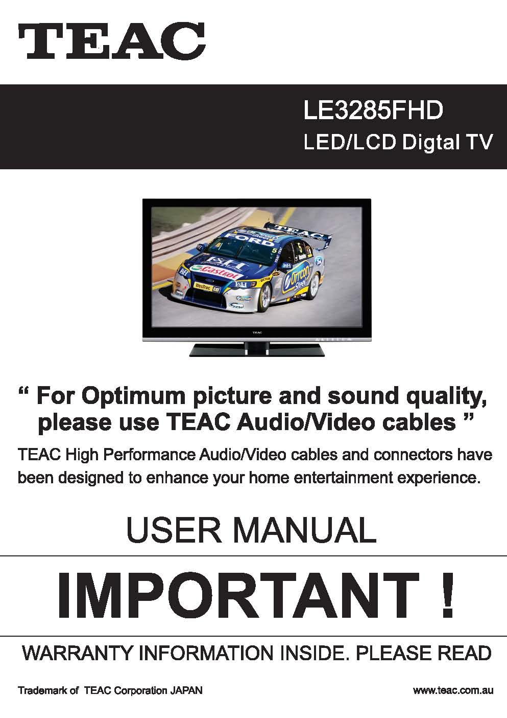 TEAC LE3285FHD User Manual