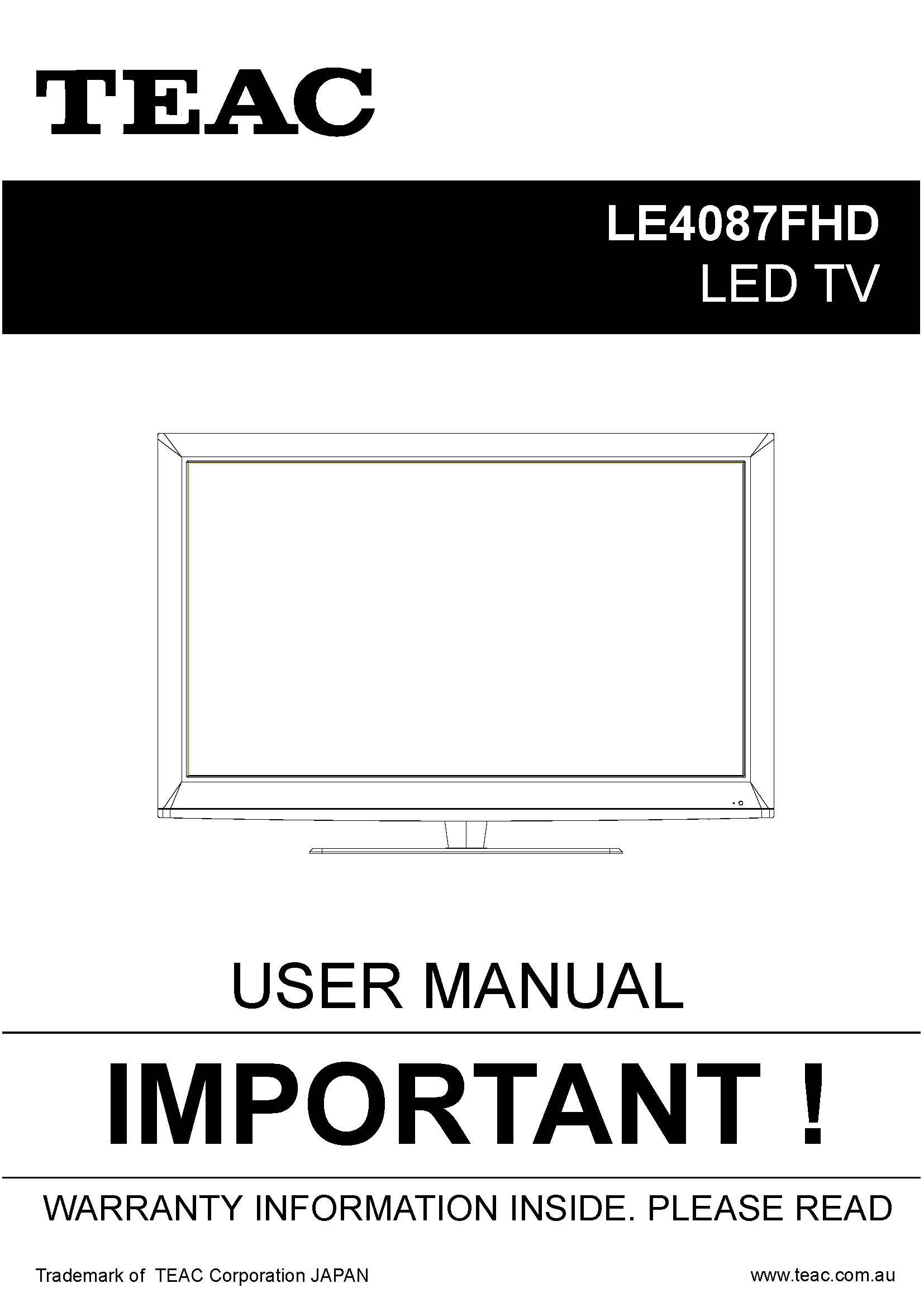 TEAC LE4087FHD User Manual