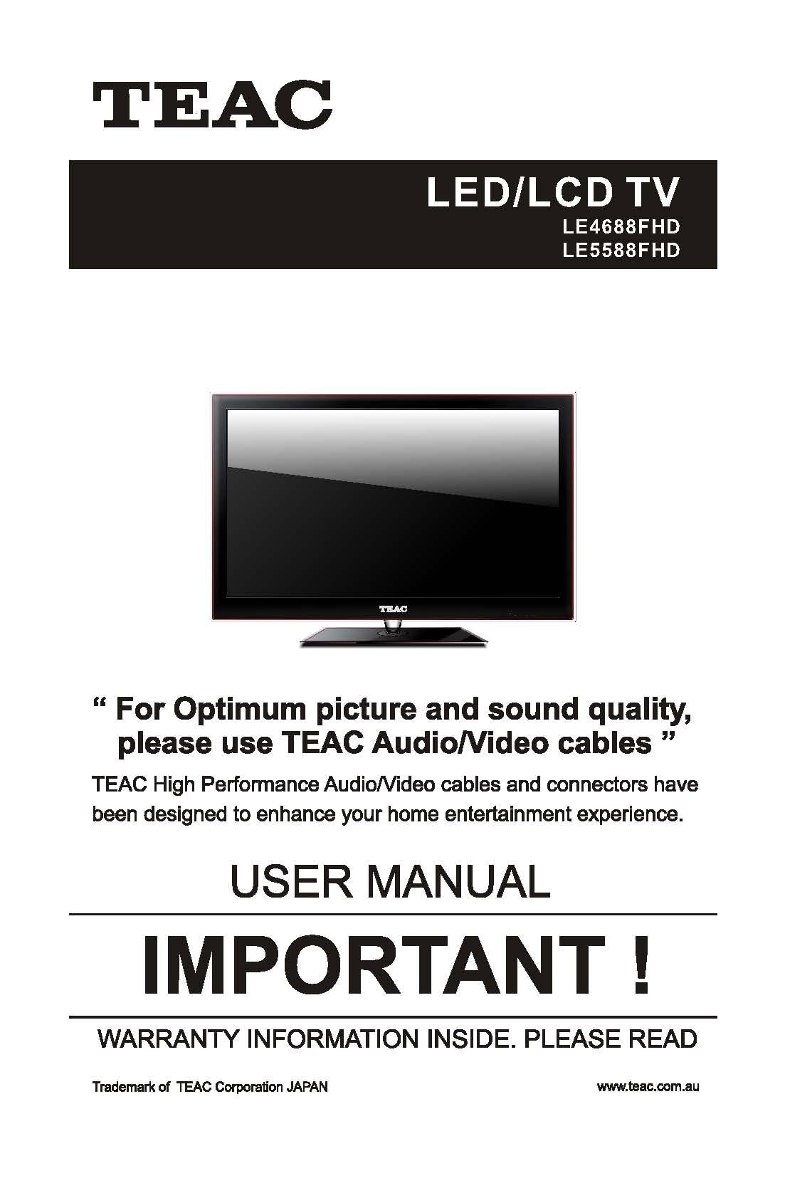 teac le4688fhd le5588fhd user manual store809 rh store809 com TEAC 3340 Service Manual TEAC an 80 User Manual